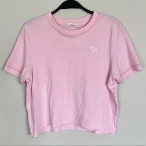 Abercrombie & Fitch pink crewneck cropped top